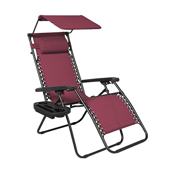 Best Choice Products Zero Gravity Chair with Canopy Sunshade - Burgundy