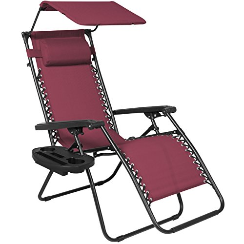 Best Choice Products Folding Zero Gravity Recliner Lounge Chair W/ Canopy Shade & Magazine Cup Holder- Burgundy (Gravity Recliner Outdoor Chair)