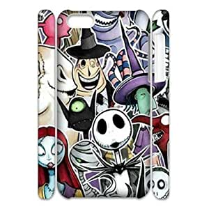 wugdiy Custom Hard Plastic Back 3D Case Cover for iPhone 5C with Unique Design The Nightmare Before Christmas