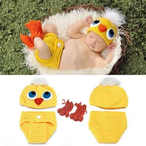 Cute Newborn Infant Baby Photography Props Girls Photo Suit Baby Knitted Set Small Yellow Duck Knitted Hat Photography Prop Chicken Handmade Wool Set Outfit Clothes Handmade for Newborn, Girls & ()