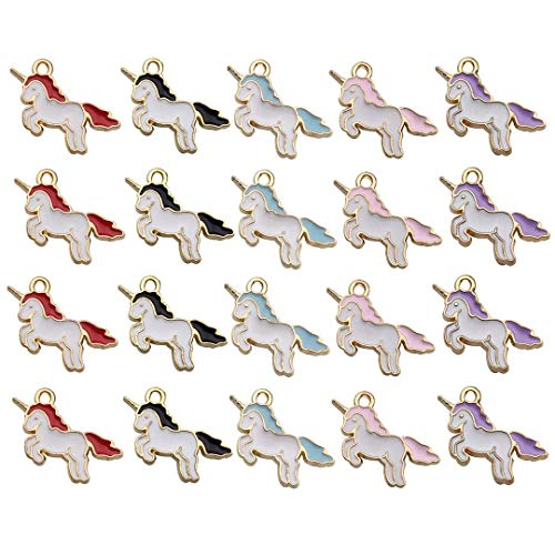 Gold Unicorn Charm - 50PCS Unicorn Charms, Horse Gold Enamel Metal Charm Pendant Supplies Findings for Jewelry Making (HM158)