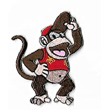 """Diddy Kong Patch 3"""" Embroidered Iron on Badge Retro Gamer Gorilla Ape Monkey Costume Applique Motif Bag Shirt Snes Video Game DK Cartoon"""