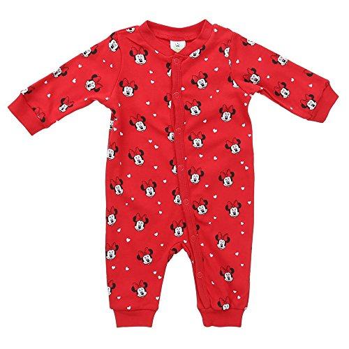 Baby-Mädchen Spieler/Strampler, Disney baby Baby-Mädchen Minnie Mouse Spieler/Strampler Rundhals Langarm , Rot, in Größe 80/86