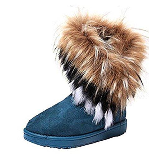 Women Winter Warm high Long Snow Ankle Boots Faux Fox Rabbit Fur Tassel Shoes (9 M US Women, Blue) (Fox Fur Winter Boots)