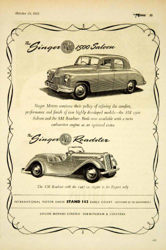 Review 1952 Ad Singer Motors