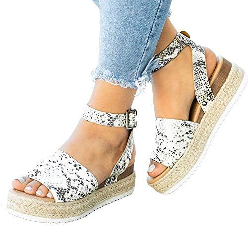 (XMWEALTHY Women's Ankle Strap Platform Wedges Sandals Casual Open Toe Espadrilles Sandals for Summer Beige Python US 8)