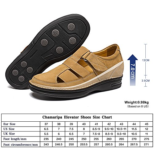 CHAMARIPA Men Causal Fisherman Sandal height Increasing Elevator Shoes 2.76 Inch Taller H71T73V011D Yellow kdZiw5
