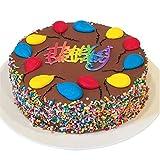 "Triolos Bakery Chocolate Fudge Birthday Cake - Happy Birthday Greeting, Chocolate Frosting and Colorful Sprinkles, 8"" Round Cake"
