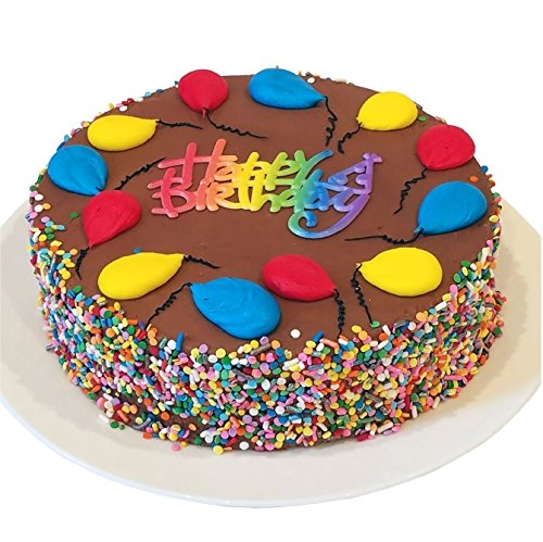 "Triolo's Bakery Chocolate Fudge Birthday Cake - Happy Birthday Greeting, Chocolate Frosting and Colorful Sprinkles, 8"" Round Cake"