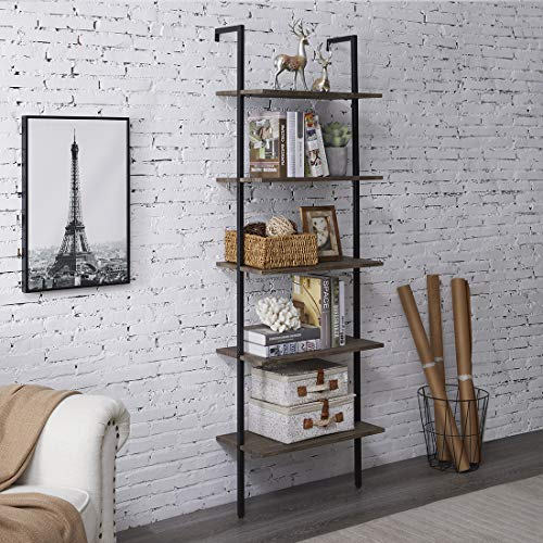 PRAISUN Ladder Bookshelf, 5-Tier Industrial Shelf Against The Wall, 72 in Opening Display Bookcase for Living Room, Free…