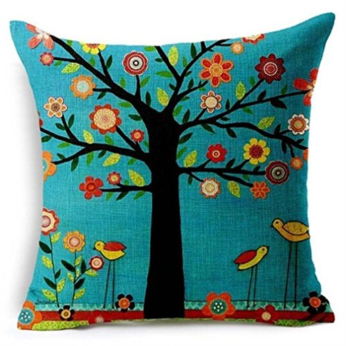 Winhurn Fashion Linen Square Decorative Pillow Case with Tree Pattern (Zombie Items For Sale)