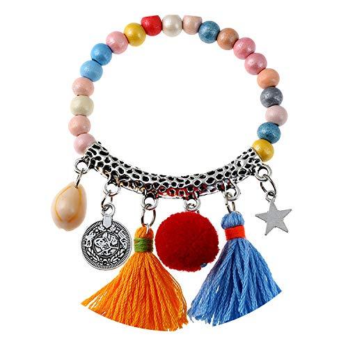Tea language New Popular Women Bracelets Jewelry Colorful Tassel Wood Beads Strand for Female Accessories