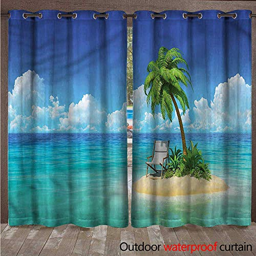 cobeDecor Coastal Home Patio Outdoor Curtain Small Island Chair and Palm W108 x L84(274cm x 214cm)