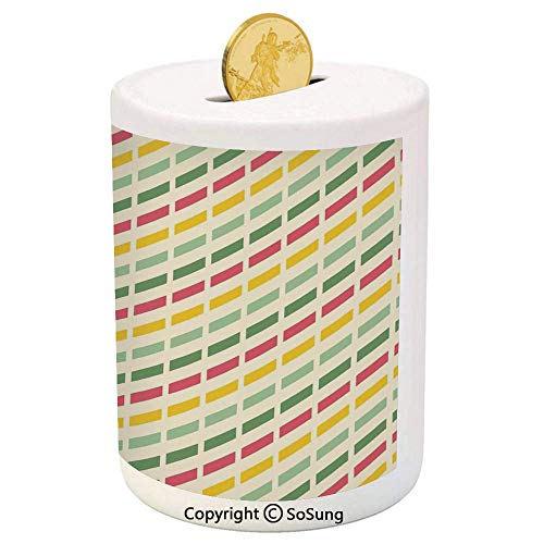 Retro Ceramic Piggy Bank,Colorful Retro Cut Lines Diagonal Pattern in Pastel Colors Simplistic Summer Inspired Decorative 3D Printed Ceramic Coin Bank Money Box for Kids & ()