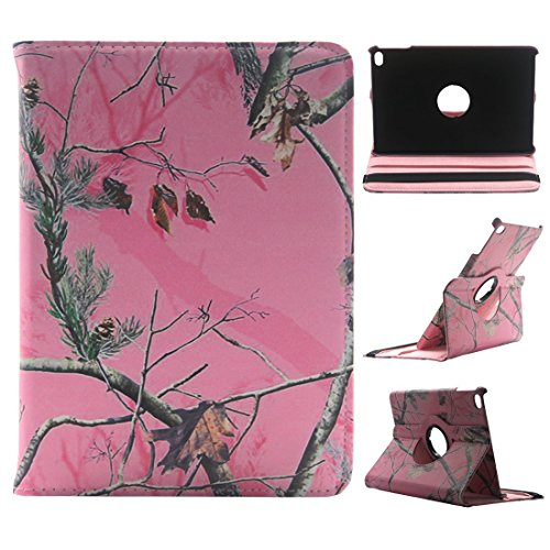 iPad Mini 4 Case - Tsmine Premium 360 Degree Rotating PU Leather Case Camouflage Branch Straw Mossy Leaves for ipad Mini 4 7.9 inch 2015 Release Tablet, Pink Branches