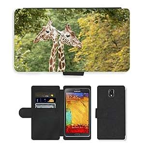 PU LEATHER case coque housse smartphone Flip bag Cover protection // M00112986 Jirafas Jirafa Cuello Cuello Zoo // Samsung Galaxy Note 3 III N9000 N9002 N9005