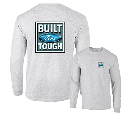 Tough Logo Tee (Built Ford Tough Logo Classic Emblem Long Sleeve T-Shirt F & B, Ash Grey, L)