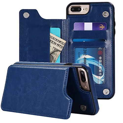 iPhone 8 Plus Case,iPhone 7 Plus Case, Small Knife Slim Fit Premium Leather iPhone 8/7 Plus Wallet Case Card Slots Shockproof Folio Flip Protective Defender Cover for iPhone 8/7 Plus (Luxury Blue)