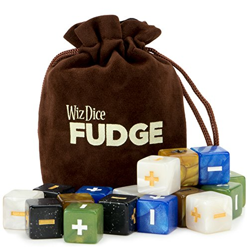 Wiz Dice 20 Fudge Dice GM Starter Pack: Terrestrial - 5 Sets of 4 Fudge Dice with Chocolate Brown Carry Bag