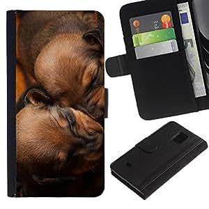 EuroCase - Samsung Galaxy S5 Mini, SM-G800, NOT S5 REGULAR! - puppies sleeping brown chesapeake dog - Cuero PU Delgado caso cubierta Shell Armor Funda Case Cover