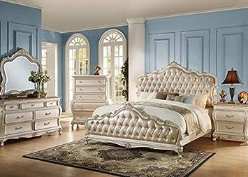 Amazon.com: Luxury Vintage White Tufted HB/FB Eastern King ...