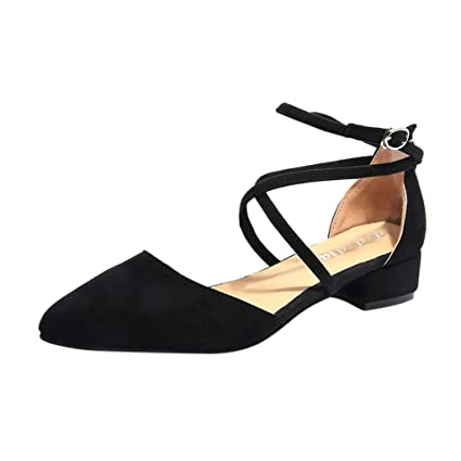 7b417639f22d LEERYAAY Women s Fashion Casual Point Toe Buckle Strap Square Heel Sandals  Med Heel Shoes