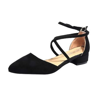 d61de360a20 leewa Women s Casual Sandals Point Toe Buckle Strap Square Heel Sandals Med Heel  Shoes Black