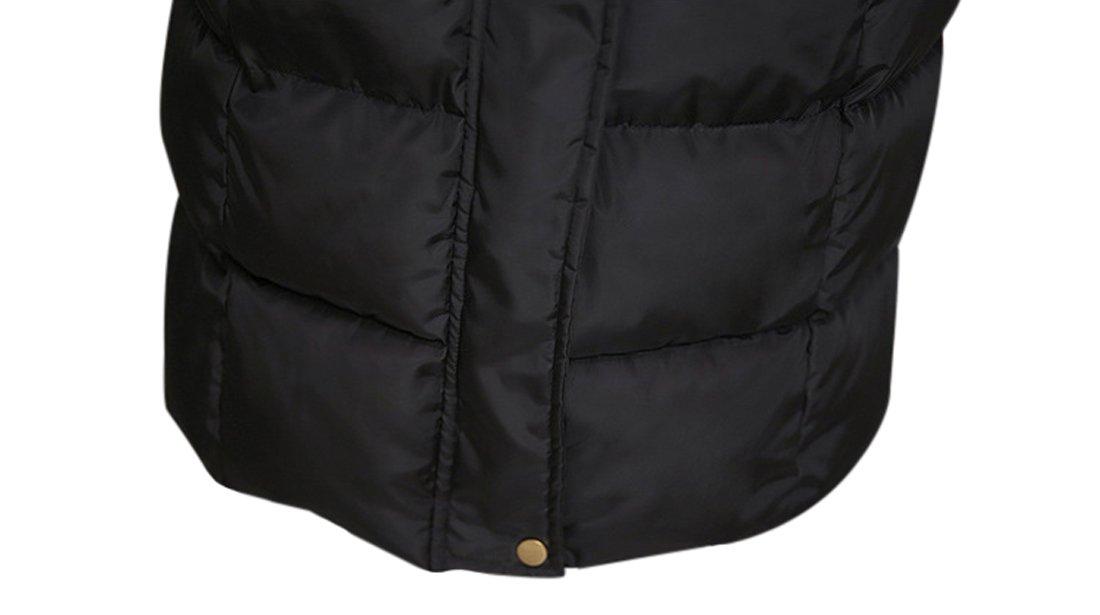 Tanming Women's Winter Cotton Padded Long Coat Outerwear With Fur Trim Hood (Large, Black) by Tanming (Image #7)