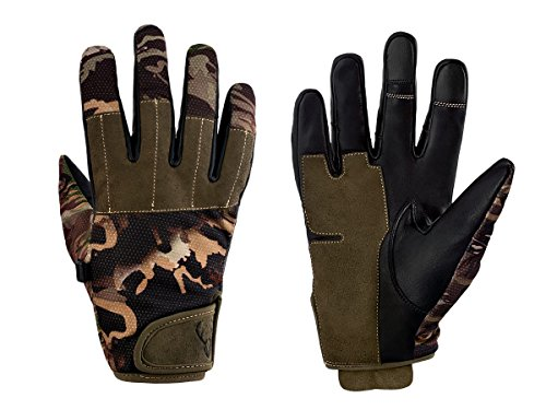 Arctic Buck Hunting Gloves in Real Leather - Best Tactical Shooting Gear to Stay Warm and Dry with Stealth Camo Perfect Feel and Touch Screen Feature - with Camo Mask - Weather Gloves Shooting Cold