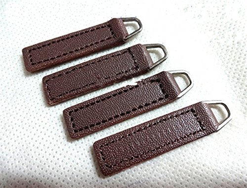 Leather Zipper Pull - WellieSTR PU Leather Zip Fixer/Zipper Pull - 10 Replacement Leather Zipper Tags (Coffee) - Fix your favourite coat or suitcase - 10X35mm
