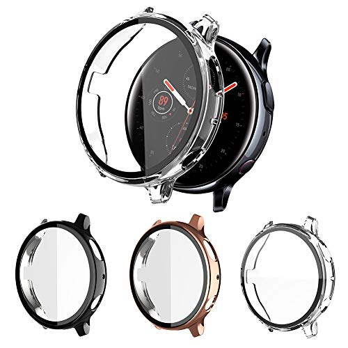 3 Pack Hard Case Compatible with Samsung Galaxy Watch Active 2 Screen Protector 44mm Bulit in Tempered Glass, NAHAI Hard…