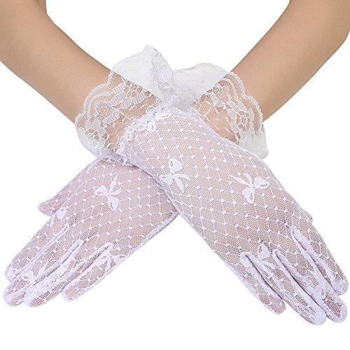 BABEYOND Floral Lace Gloves for Wedding Opera Party 1920s Flapper Lace Gloves Stretchy Adult Size (Short-White-1)