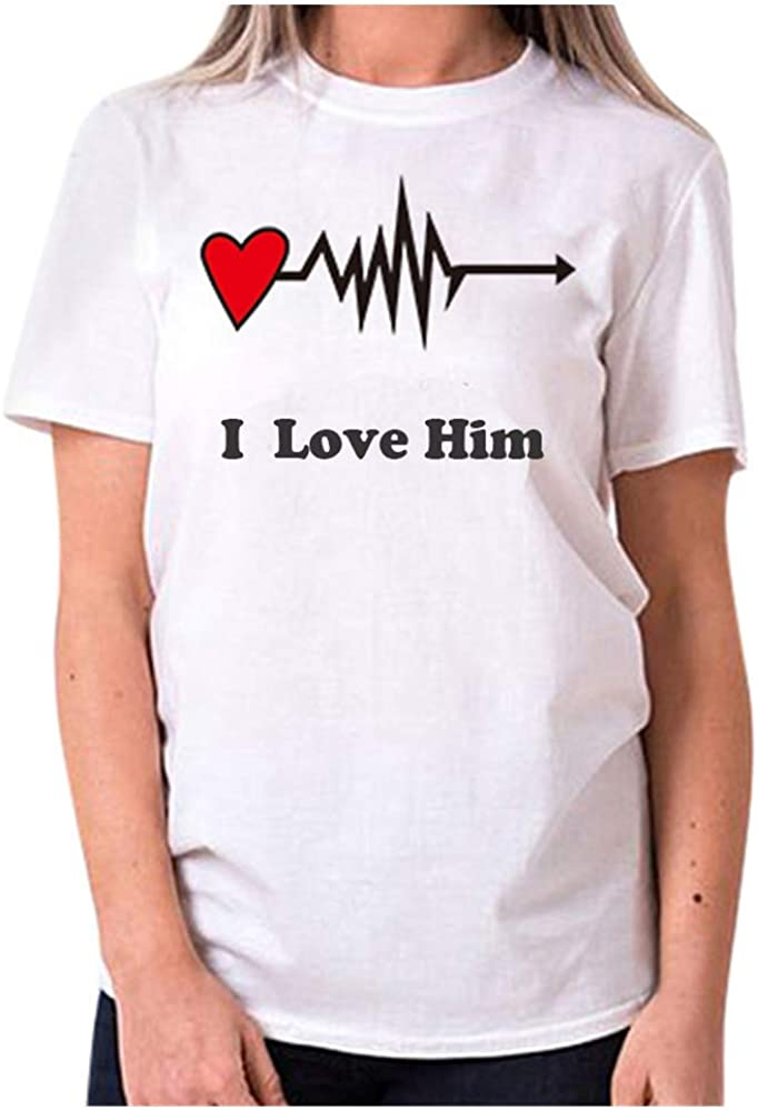 T-Shirt for Boys and Girls Women Men Short Sleeves O-Neck Valentines Day Printing Slim Tops Blouse Chanyuhui Soft Tees