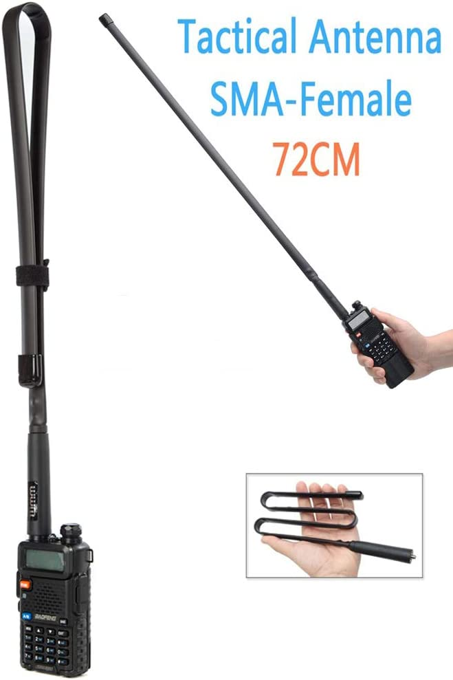 Foldable/Tactical Raido Antenna Walkie Talkies Dual Band UV VHF/UHF 144/430Mhz Antennas Two Way Radio Connector for Kenwood Baofeng UV-5R UV82 888S F8HP Retevis H777 by WMM (29 inch/72 cm)