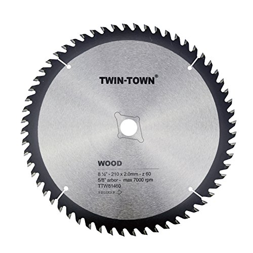 - TWIN-TOWN 8-1/4-Inch 60 Tooth ATB Fine Finish Thin Kerf Saw Blade with 5/8-Inch DMK Arbor