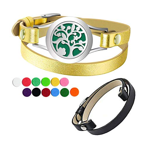Essential Oil Diffuser Bracelet Aromatherapy Locket 2 Leather Bands 12 Color Pads Women Jewelry Gifts Set (Family Tree Diffuser Bracelet) (Family Tree Bracelet)