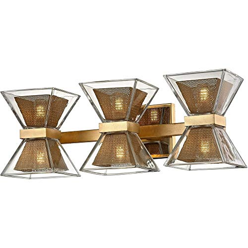 """Troy Lighting B5803 Expression 20"""" LED Bath Light - Gold Leaf with Polished Chrome Accents - Clear Glass Shade, 6"""
