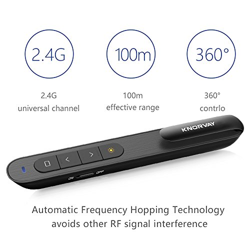 KNORVAY N76 Wireless Presenter 360mAH Rechargeable Hyperlink Volume Control Powerpoint Clicker Presentation Remote Laser Pointer 2.4GHz (B-Black) by Knorvay (Image #3)'