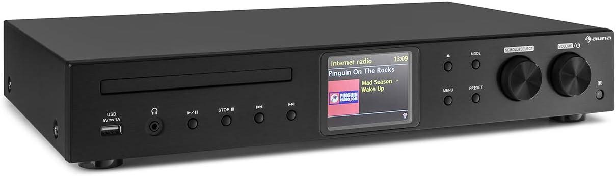 AUNA iTuner CD - Receptor HiFi, Radio de Internet, WLAN, Spotify Connect, Sintonizador Dab+ FM, Reproductor de CD, Puerto USB, MP3, Pantalla TFT Color, Frontal de Acero Inoxidable, Negro