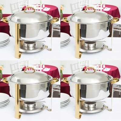 - Soup Chafer, 8 Qt. Deluxe Round Gold Accent Soup Chafer(PACK 4)