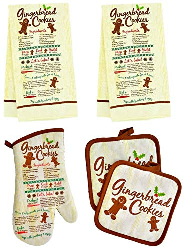 Christmas House Assorted Holiday Kitchen Linen Sets - 5 pc (Gingerbread Cookie) (Gingerbread Pot Holder)