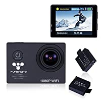 Underwater Wi-Fi Action Camera By Funshare, Waterproof Sports Cam for Swimming, Cycling and Snorkelling, HD 1080P 14 Mega Pixels Resolution 170° Angle Lens Mountable Durable Batteries (Black)