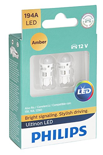 (Philips 194 Ultinon LED Bulb (Amber), 2 Pack)