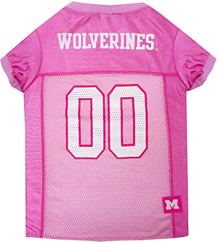 Pets First Collegiate Michigan Wolverines Dog Jersey, Large, Pink