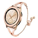 for Galaxy Watch 42mm Women Bands, TRUMiRR 20mm Jewelry Bangle Watchband Rose Gold