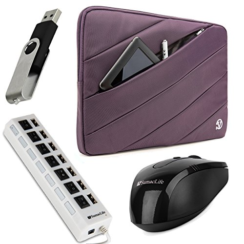 VG Jam Series Bubble Padded Striped Sleeve for Asus 13.3-inch Ultrabooks / Notebooks / Laptops (Purple) + Wireless Mouse + 4GB Thumbdrive + 7 Port USB Hub