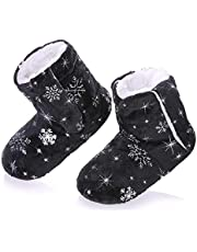 RONGBLUE Kids Girls Boys Christmas Snowflake Slipper Shoes Soft Warm Fleece Lining Non-Slip Winter House Boot Socks 2-7 Year Old