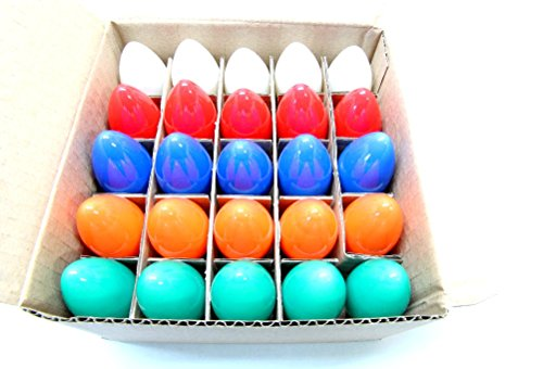 C-9 Multi-Color Ceramic Twinkle Bulbs Brand New 1 Box of 25 C9 Multi Solid Color Twinkle Blinking Bulbs E17 Twinkling Replacement Light Bulbs - C9 Twinkle Bulbs