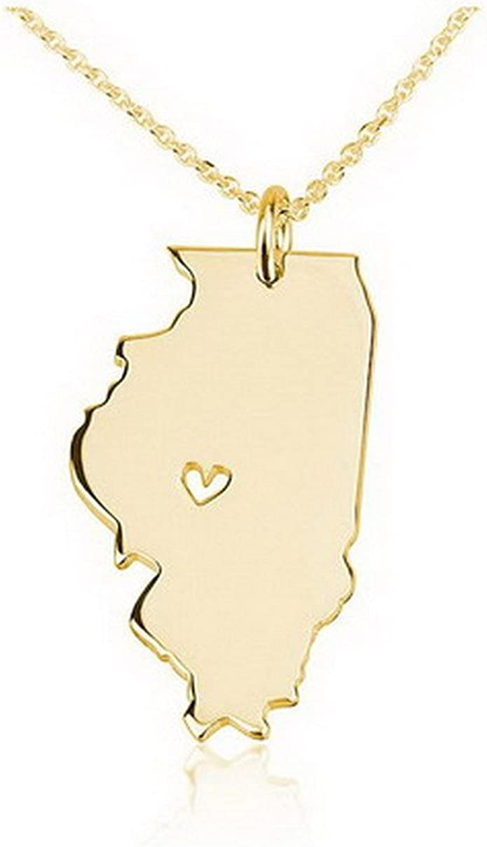 Illinois Map Necklace Vintage Illinois Illinois Necklace Illinois Gift Illinois Jewelry Wife Gift Illinois charm Illinois Woman