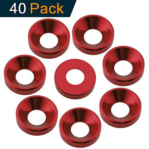 Hobbypark (40-Pack) Aluminum M3 / M4 M5 Screws Washers Countersunk Flat Head Bolts Washer Hardware Colourful-Anodized (Red, M4)
